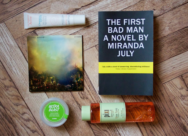 Eau Thermal Avene Clearance Expert, The First Bad Man by Miranda July, Pixi Glow Tonic, Ultrablast by Lush, Divers by Joanna Newsom