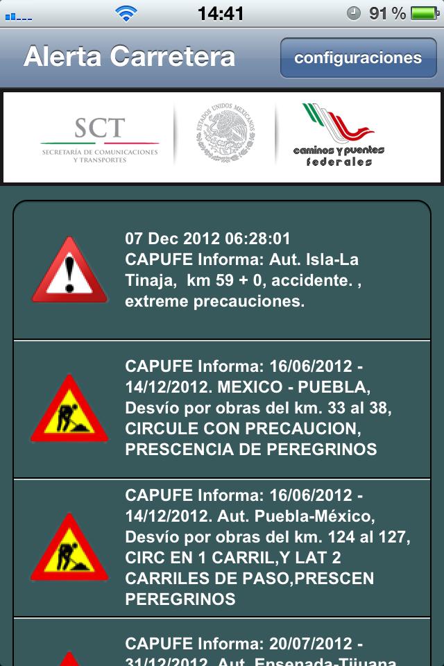 Capufe Informa en tiempo real accidentes y bloqueos en carreteras de Mexico en y zonas de construccion