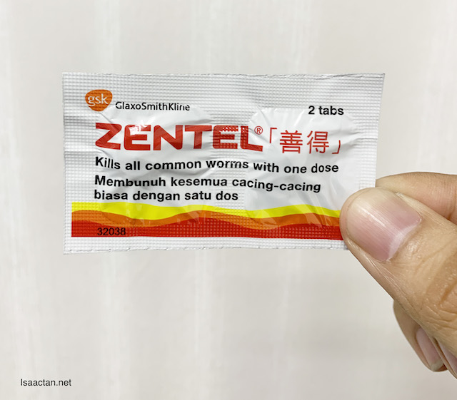 The packaging for Zentel Tablets