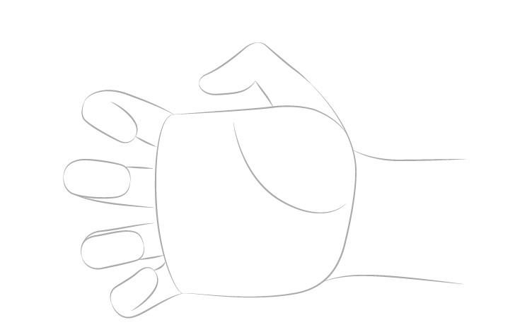 Tangan meraih jari menggambar