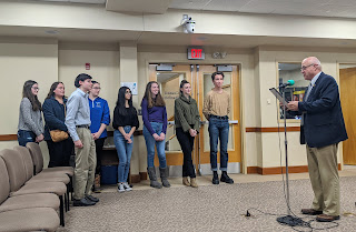 The FHS students who persisted in advancing the plastic bag reduction were recognized with a proclamation for their efforts