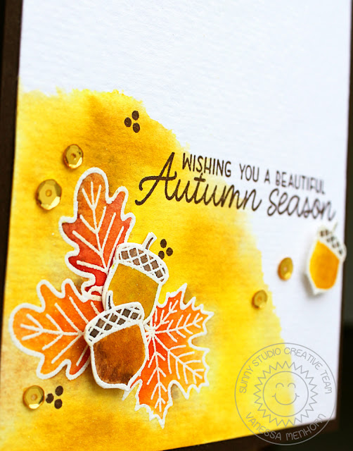 Sunny Studio Stamps: Beautiful Autumn Heat Embossed Fall Themed Card by Vanessa Menhorn