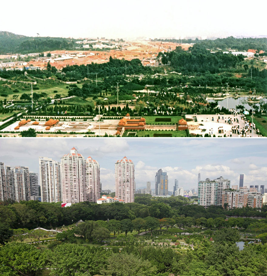 Shenzhen's Splendid China Folk Village theme park in 1991 and 2015.