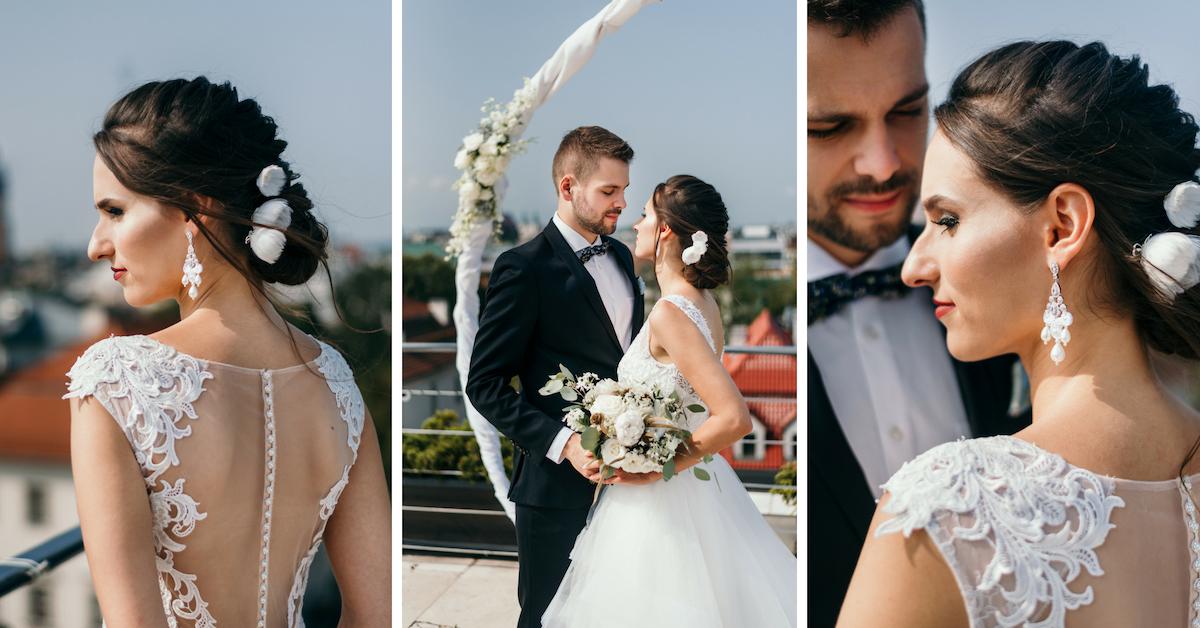 Niskie upięcie ślubne.
