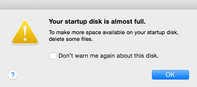 "macOS Sierra: "" Your Startup Disk Is Almost Full "" message"