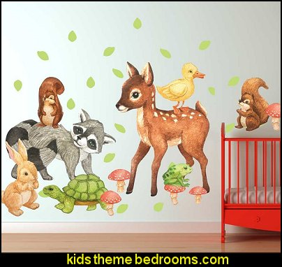 woodland Forest Watercolor Wall Decal Set - Nursery Wall Decal