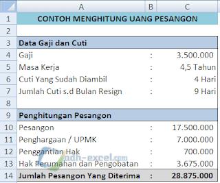 Rumus Excel Menghitung Pesangon