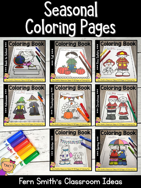 You can click on the link below to arrive at my TpT store already sorted for the grade level items you want for your class. Seasonal Coloring Pages for your Pre-K, Kindergarten, or First Grade Students. #FernSmithsClassroomIdeas