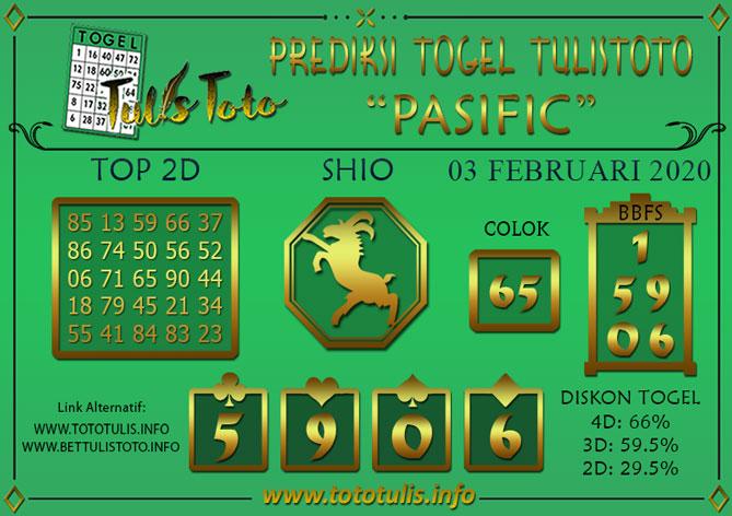 Prediksi Togel PASIFIC TULISTOTO 03 FEBRUARI 2020