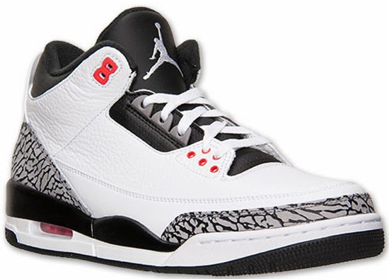 94d6711d324 A new twist on the classic white/cement Air Jordan III, this Air Jordan 3  Retro comes in a white, black, cement grey and infrared 23 colorway.
