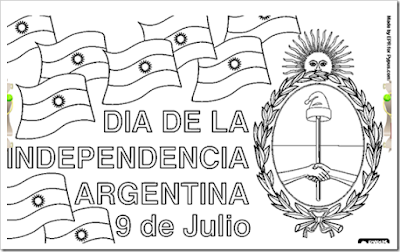 Dibujos colorear y color independencia Argentina 9 de Julio