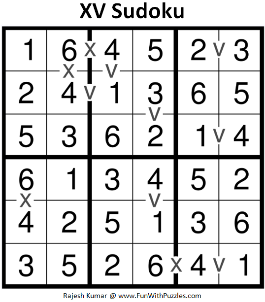 XV Sudoku (Mini Sudoku Series #93) Solution