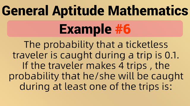 The probability that a ticketless traveler is caught during a trip is 0.1. If the traveler makes 4 trips , the probability that he/she will be caught during at least one of the trips is: