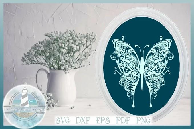 Butterfly SVG   Butterfly Mandala Zentangle SVG