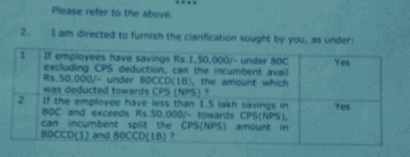 CPS Employees Additional Benefit 50000 in Income Tax on 80CCD(IB) Deductions for CPS (NPS) Clarification