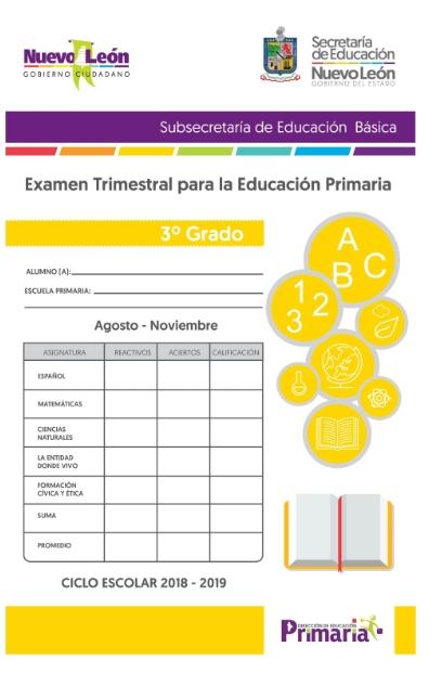 3er grado Primaria  Examen Trimestral Primer Trimestre