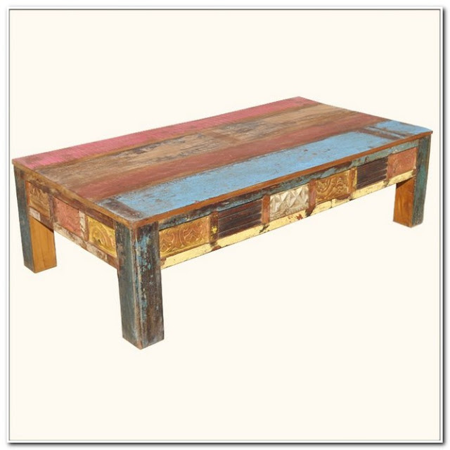WHITE DISTRESSED WOOD COFFEE TABLE;Distressed Painted Wood Coffee Table;