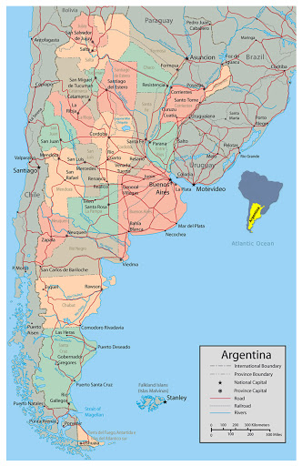Argentina map with cities