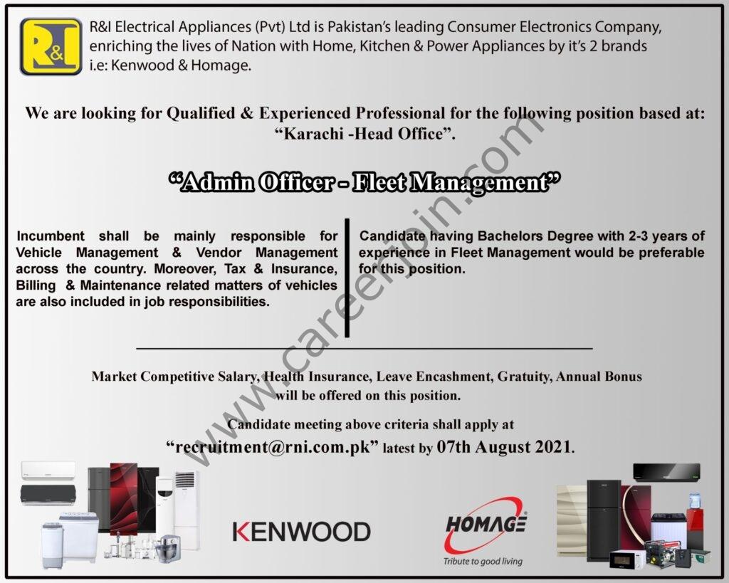 R&I Electrical Appliances Pvt Ltd Jobs Admin Officer Fleet Management