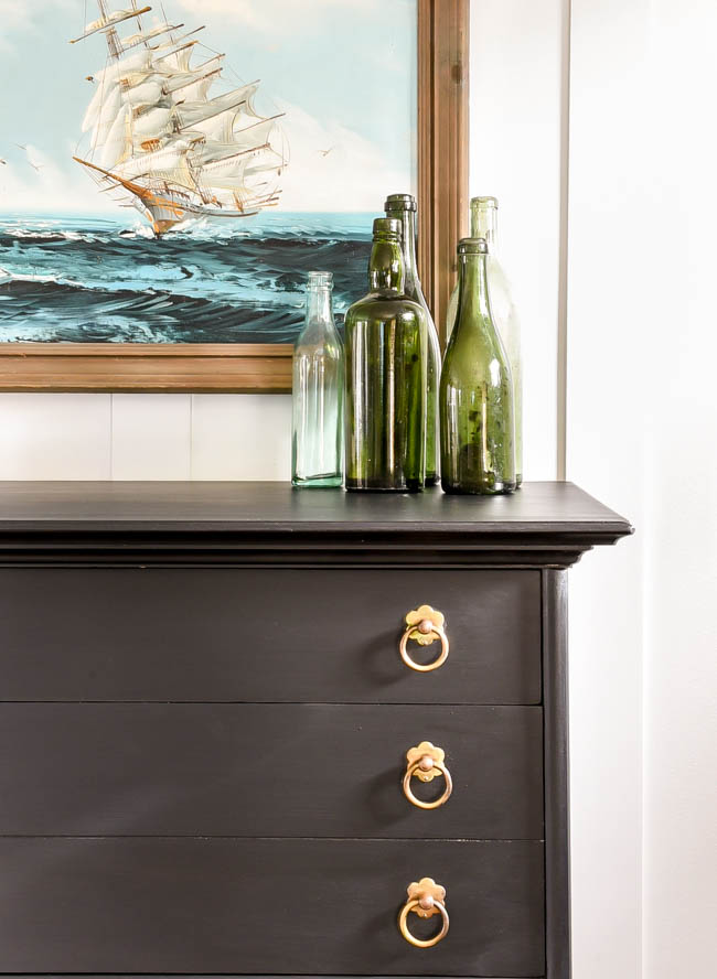 black painted mcm dresser