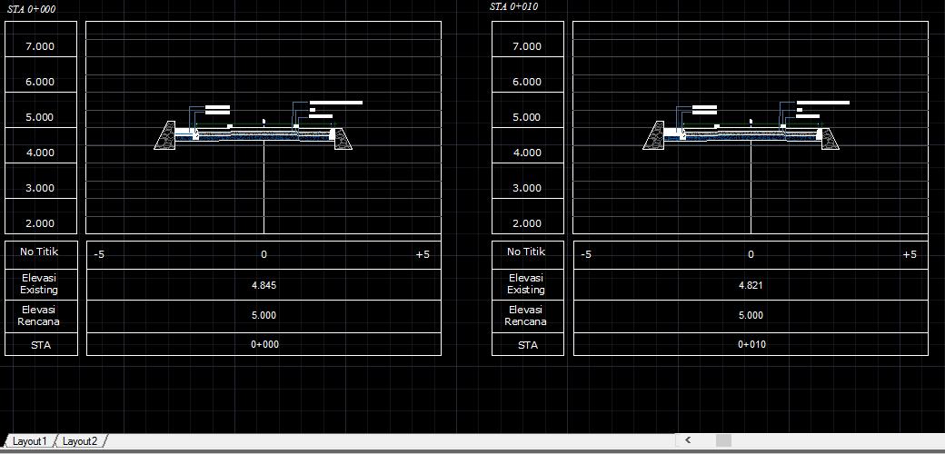 AUTO CAD GAMBAR CROSS SECTION DAN LONG SECTION DWG FILE