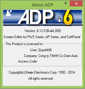 Phần mềm ADP 6.12.0 build 200 lập trình thiết kế giao diện màn hình HMI Hitech