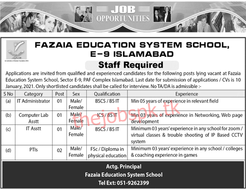 Latest Fazaia Education System School Education Posts 2021