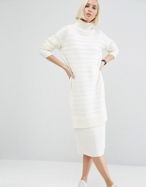cream jumper dress, high neck jumper dress, polo neck cream dress,