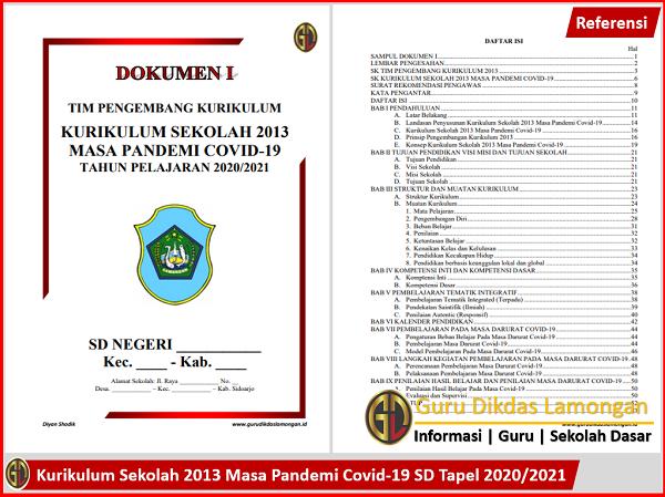 Kurikulum Sekolah 2013 Masa Pandemi Covid-19 SD Tapel 2020/2021