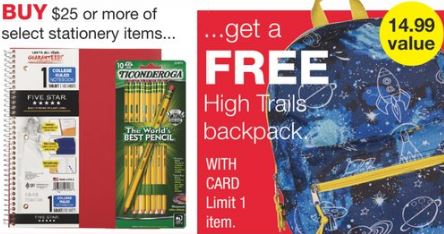 FREE High Trails backpack WYS/$25.00