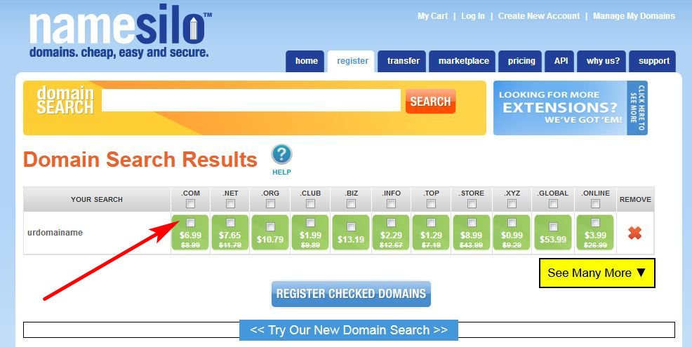 Namesilo Cheapest Domain Price, domain cheap price