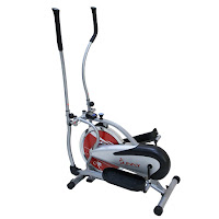 Sunny Health & Fitness SF-E1405 Flywheel Elliptical Trainer, dual action handlebars, 16 lb chrome flywheel, chain drive, felt fabric brake pad system for various tension levels, LCD workout monitor