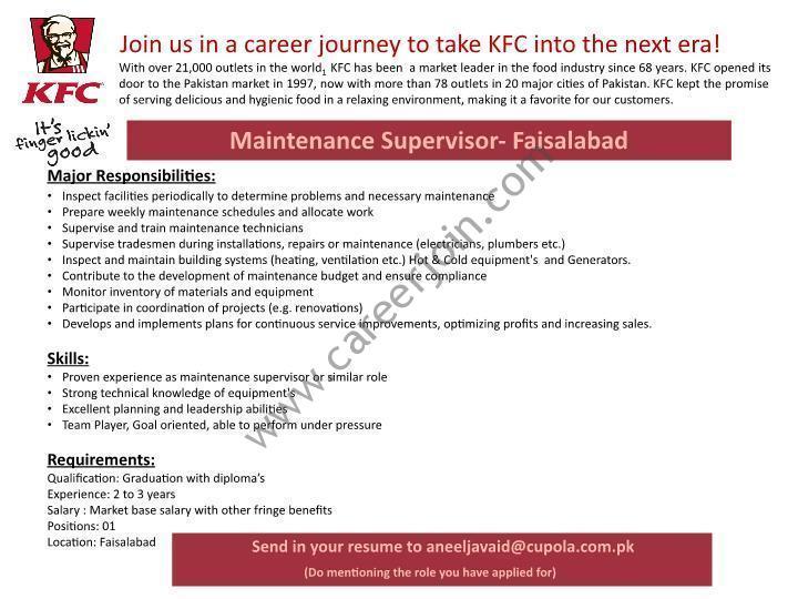 KFC Pakistan Career Maintenance Supervisor