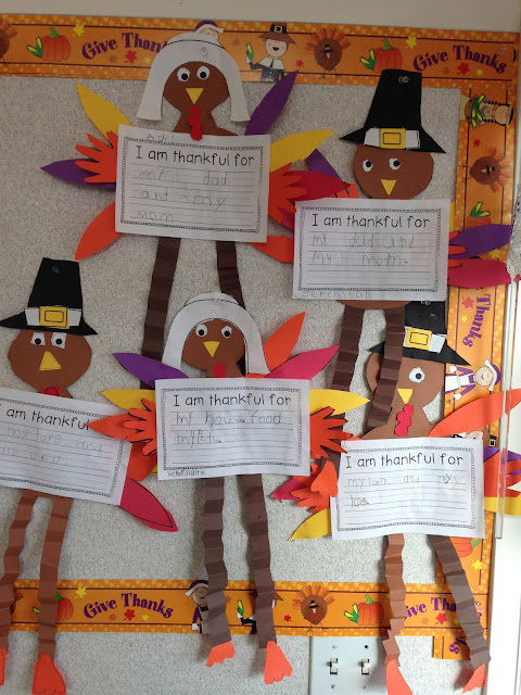 Thankful turkeys, kindergarten writing