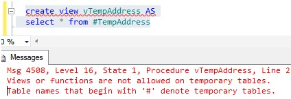 Microsoft business intelligence limitations of view for 1005 can t create table