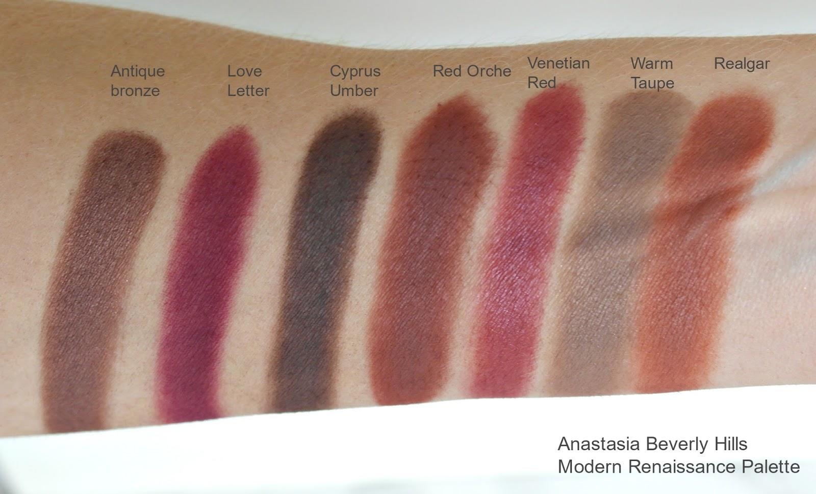 Anastasia beverly hills, modern renaissance palette, swatches, ABH