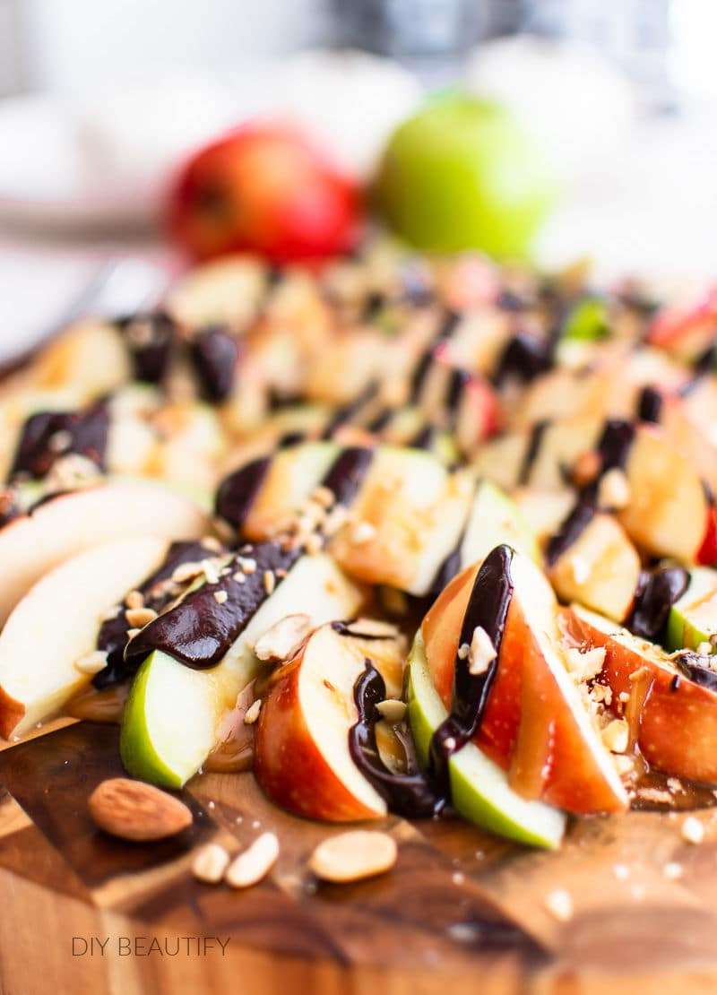 close up of apple nachos