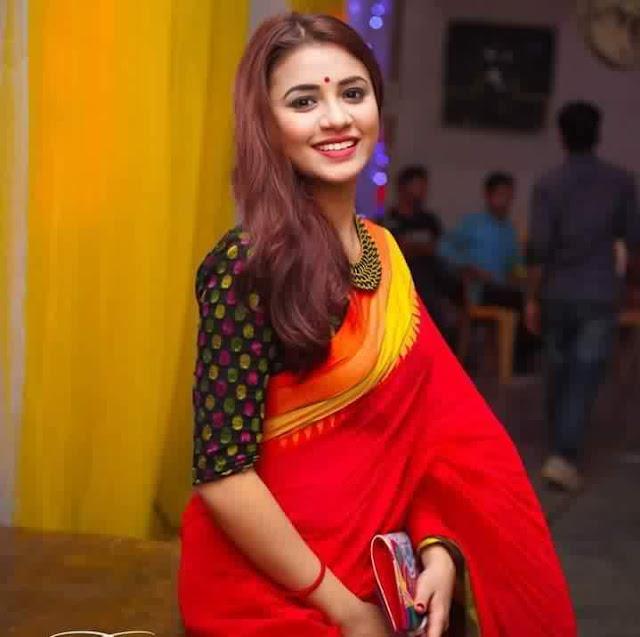 Tasnuva Tisha In Red Saree 2