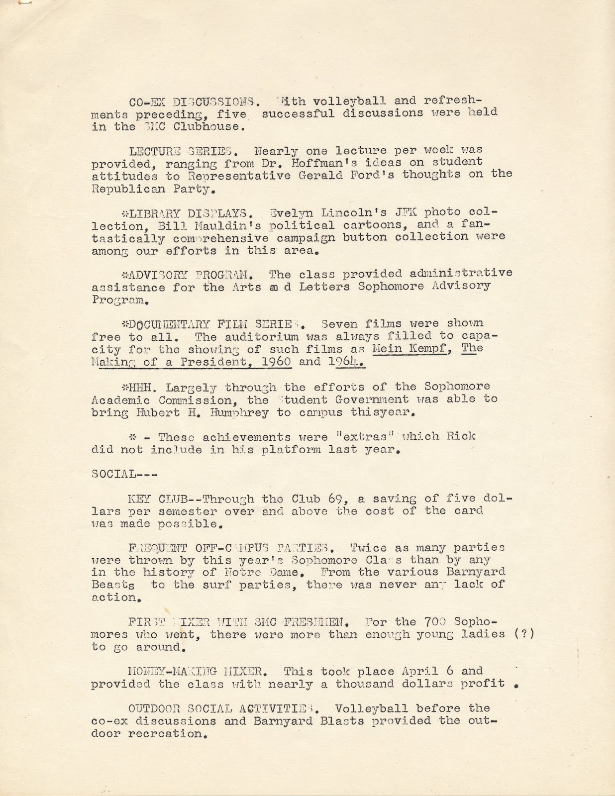 Spring 1967: Rick Rembusch's Report and Prospectus for Junior Class