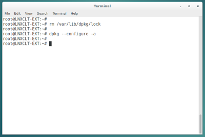 Masalah Debian : dpkg status database is locked by another process