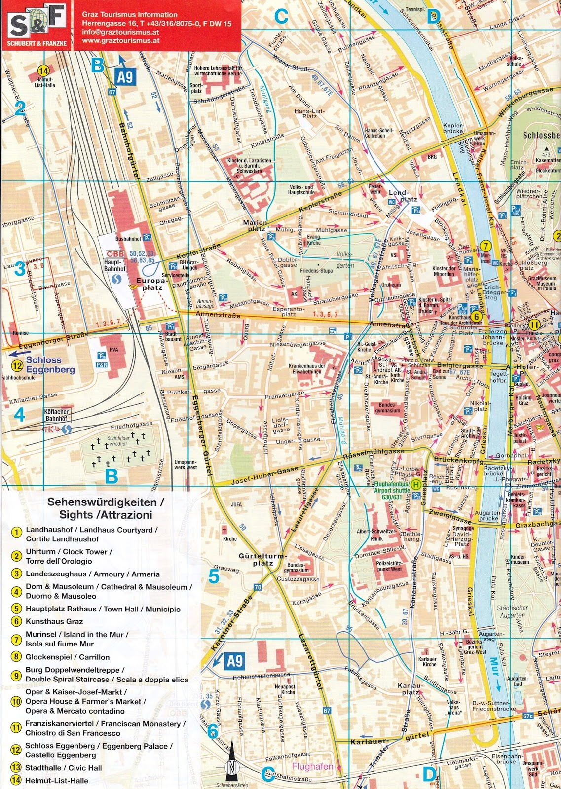 grad krf mapa Kao na dlanu : Skenirana mapa Graca   glavne atrakcije grada grad krf mapa