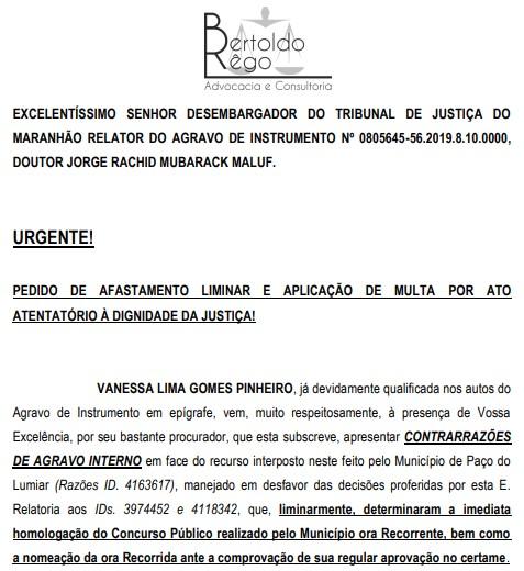 Advogado quer afastamento de prefeita com base em decisão teratológica do TJMA sobre concurso comprovadamente fraudado.