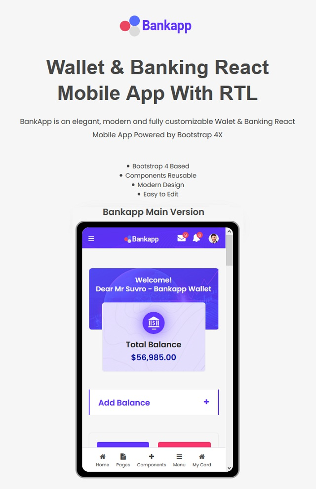 Wallet & Banking Mobile Template