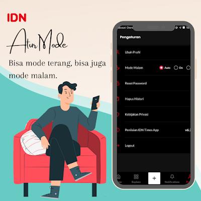 Mode malam DN App aplikasi berita terlengkap