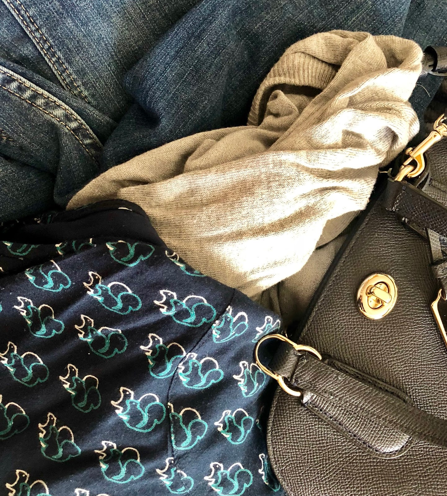 Jeans, blue bag and squirrel top
