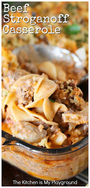 Beef Stroganoff Casserole ~ Dig in to a pan of this tasty casserole for dinner! It's loaded with great flavor the whole family will love. www.thekitchenismyplayground.com