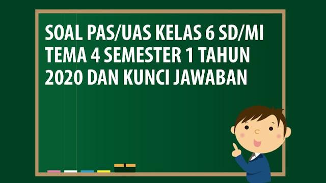 Soal PAS/UAS Kelas 6 SD/MI Tema 4 Semester 1 Tahun 2020