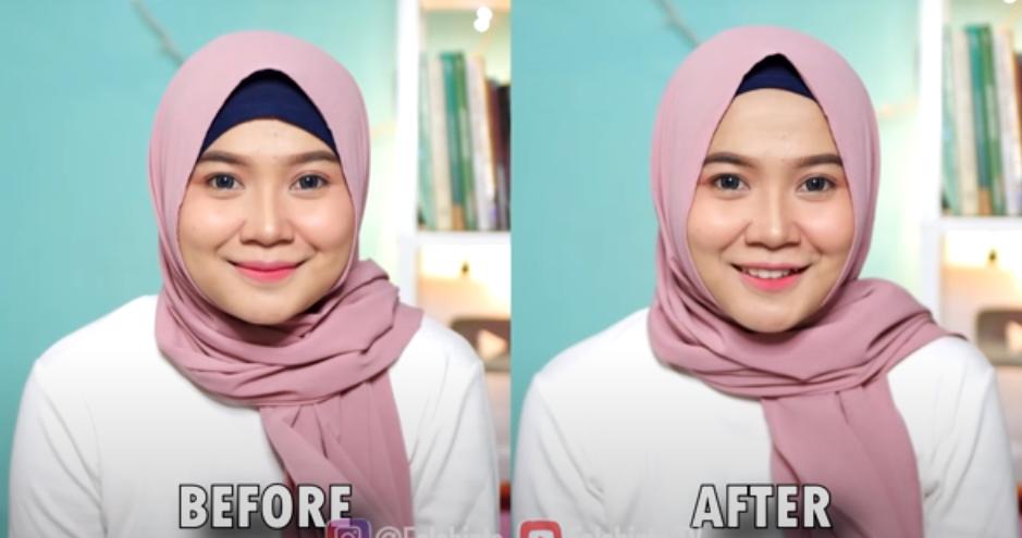 photo wanita before after cara memakai ciput hijab jilbab wajah bulat