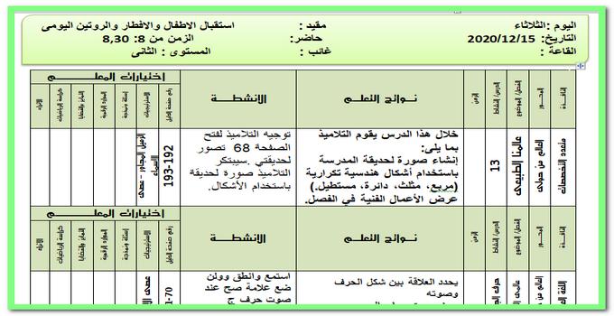 تحضير المستوى الثانى ليوم الثلاثاء 15 ديسمبر