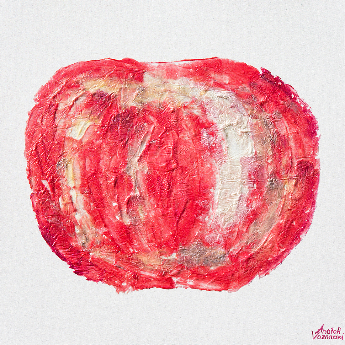 apple painting, apple abstract, contemporary apple, apple pop art, apple voznarski, apple acrylic, apple textured, office painting, red apple,